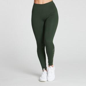 Gradient Line Graphic 基礎純棉系列 女士緊身褲 - 深綠