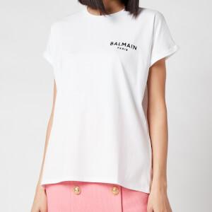 Balmain Women's Flocked Logo Detail T-Shirt - Blanc/Noir