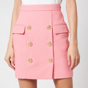 Balmain Women's Short High Waist 6 Button Cotton Pique Skirt - Rose Moyen