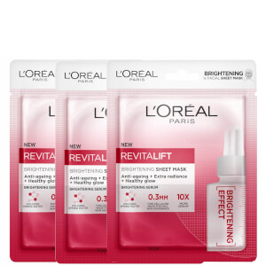 L'Oréal Paris Revitalift Brightening Sheet Masks (Pack of 3)