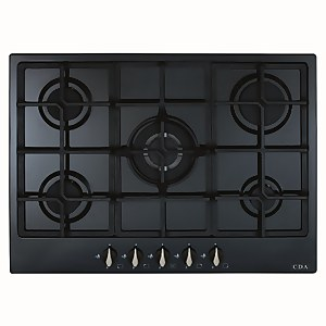 CDA HG7251BL 5 Burner Gas Hob with Front Controls - 70cm - Black