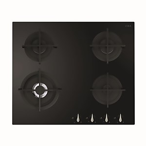 CDA HVG671BL 4 Burner Gas On Glass Hob - 60cm - Black