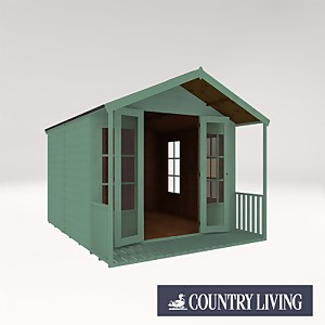 Country Living Tuxford 10 x 8 Premium Traditional Summerhouse Painted + Installation - Aurora Green