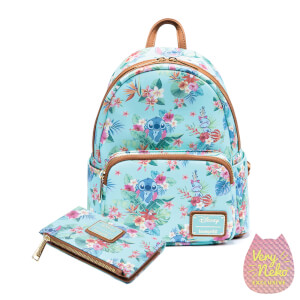 Loungefly Disney Stitch Mint Floral Mini Backpack and Wallet Set - VeryNeko Exclusive