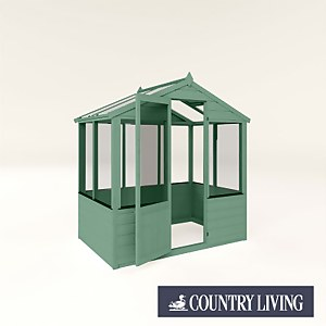 Country Living Kelham 4 x 6 Traditional Greenhouse Painted + Installation - Aurora Green