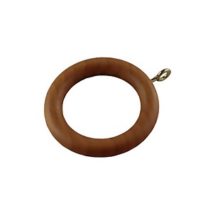 Mid Oak 28mm Curtain Rings - Pack of 6