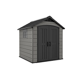 Keter Premier Outdoor Plastic Garden Storage Shed, 7.5x7ft - Grey