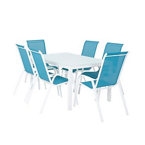 MALINDI 6 SEATER DINING SET BLUE
