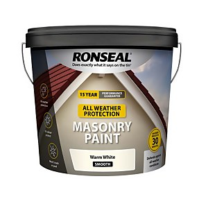Ronseal All Weather Masonry Paint Warm White 10L