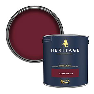 Dulux Heritage Matt Emulsion Paint - Florentine Red - 2.5L