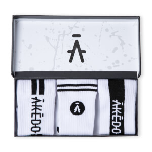 Akedo Footwear - Signature White Unisex Socks - 3 Pack