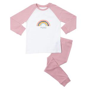 Mini Rainbow Kids' Pyjamas - White/Pink