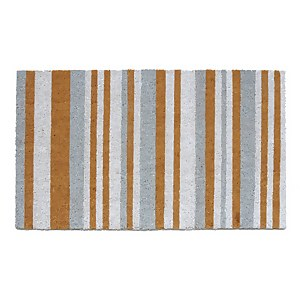 Grey & White Coir Doormat - 45x75cm