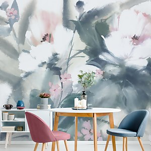 Expressive Floral Pastel Wall Mural