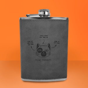 Feline Thoughts Engraved Hip Flask - Grey