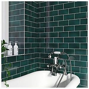 V&A Puddle Glaze Peacock Wall Tile - 15.2x7.6cm
