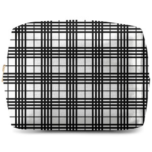 Black And White Tartan Makeup Bag