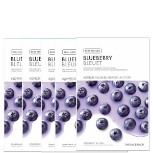 THE FACE SHOP Real Nature Sheet Mask - Blueberry (Pack of 5)