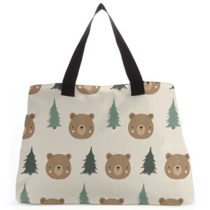 Bear And Forest Pattern Tote Bag