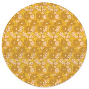 60s Floral Wallpaper Round Bath Mat