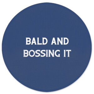 Bald And Bossing It Round Bath Mat