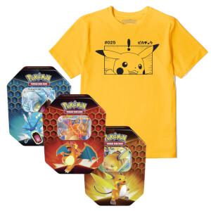 Pokémon Pikachu Tee & Pokémon TCG: Hidden Fates Tin Bundle