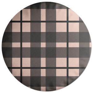 Tartan Black And Pink Round Cushion