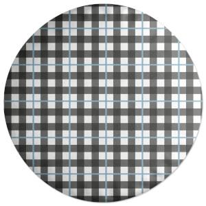 Tartan Checked Blue Round Cushion