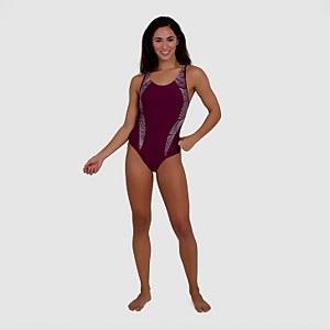Women's Allover Panel Laneback Swimsuit Plum