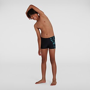 Jungen Boom Logo Allover Panel Aquashorts in Schwarz