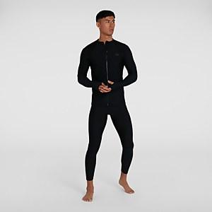 Men's Essential Zip Front Rash Top Black