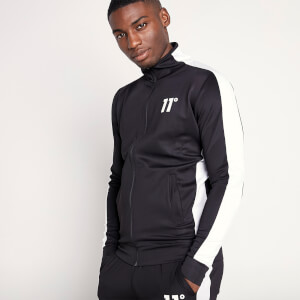 Men's Full Zip Poly Panel Track Top - Black/White