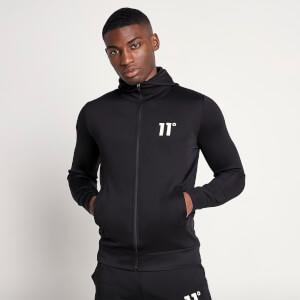 Men's Core Full Zip Poly Track Top With Hood - Black