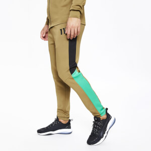 Men's Fahrenheit Colour Block Poly Track Pants Black/Green/Bright Green
