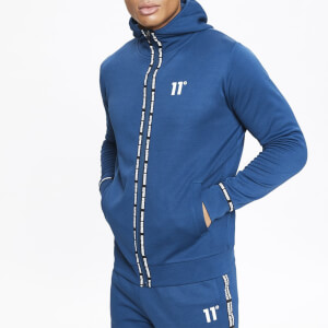 Men's Maize Pique Repeat Binding Full Zip Hoodie - Sailor Blue