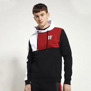 Men's Boxy Block Pullover Hoodie - Black/Brick Red/White