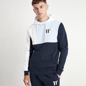 Men's Boxy Block Pullover Hoodie - Navy/Powder Blue/White