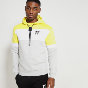 Men's Cut And Sew Pullover Hoodie - Yellow/White/Tornado Marl