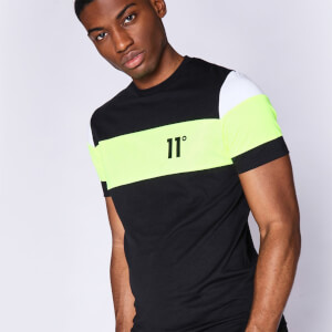 Men's Cut And Sew Sleeve Panel T-Shirt - Black/Neon Lime/White
