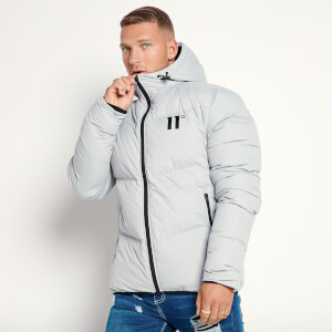 Men's Large Panelled Puffer Jacket - Silver