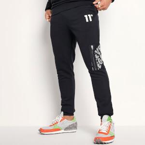 Men's Mesh Overlay Joggers Skinny Fit - Black