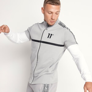 Men's Mixed Fabric Taped Full Zip Funnel Neck Top - Silver/White/Black