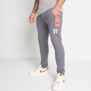 Men's Taped Joggers Skinny Fit - Steel/Silver/Inferno Red