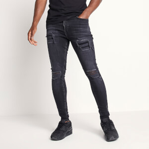 Men's Sustainable Distressed Jeans Skinny Fit - Washed Black