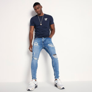 Men's Sustainable Distressed Jeans Skinny Fit - Mid Blue Wash