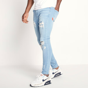 Men's Sustainable Distressed Jeans Skinny Fit - Light Wash