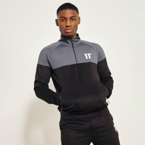 Men's Cut And Sew Quarter Zip Poly Top - Black/Anthracite