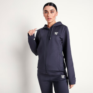 Women's Core Poly Track Top With Hood - Navy