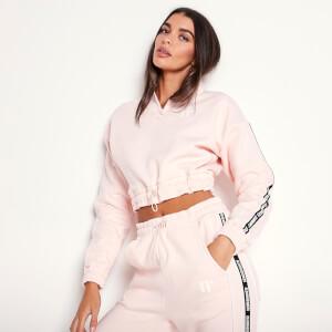 Women's Taped Quarter Zip Cropped Sweatshirt - Chalk Pink