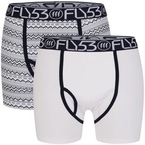 Fly 53 Men's Two Pack Boxers - White/Navy